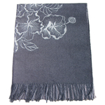 chale femme en laine brodé gris