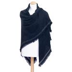 chale femme carré noir laine