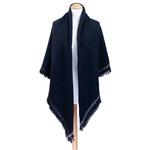chale noir carré en laine