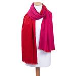 étole rouge et fushia chale pour femme réversible