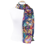 foulard écharpe soie femme bleu Sonia