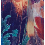 foulard ffemme bleu en soie écharpe coquelicots