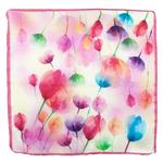 foulard carré de soie tulipes roses