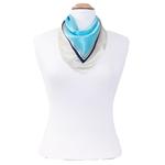 foulard en soie femme carré bleu pois
