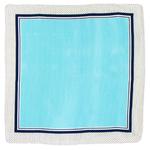 foulard carré de soie bleu pois