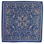 foulard carré de soie bleu kassie