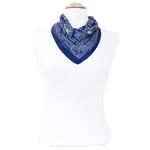 foulard carré de soie bleu marine hena