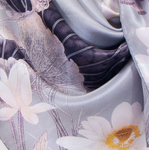 foulard femme carré de soie gris lotus