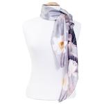 foulard gris en soie carré lotus