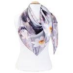 grand foulard en soie carré gris lotus