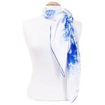 foulard bleu en soie carré pivoines