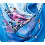 foulard femme carré de soie bleu fleurs de cerisier
