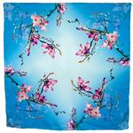 foulard carré  en soie bleu fleurs de cerisiers