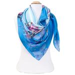 grand foulard en soie carré bleu fleurs de cerisier