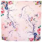 foulard carré  en soie rose fleurs Romy