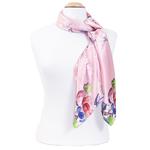 foulard rose en soie carré fleurs Romy