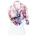 grand foulard en soie carré rose fleurs Romy