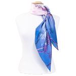 foulard bleu en soie carré arbres