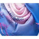 foulard femme carré de soie bleu arbres