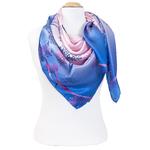 grand foulard en soie carré bleu arbre