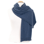 grande écharpe cachemire viscose bleu gris andréa