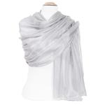 étole en soie gris perle pour femme