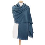 chale en laine alpaga bleu gris etole femme