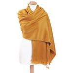 chale en laine alpaga jaune  etole femme