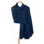 chale en laine alpaga bleu marine etole femme