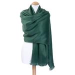 chale en laine alpaga vert etole femme
