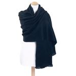 chale en laine alpaga noir etole femme