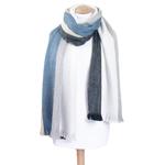 chale bleu laine alpaga rayures