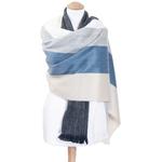 chale femme laine alpaga rayures bleu