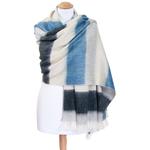 chale femme laine alpaga rayures bleu gris