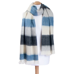 chale bleu gris  laine alpaga rayures