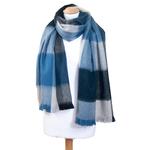 chale bleu laine alpaga carreaux