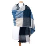chale laine alpaga carreaux bleu