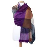 chale laine alpaga carreaux violet
