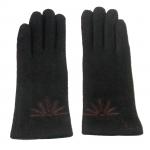 gants laine brodés chocolat GL25 1