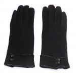 gants laine revers boutons chocolat GL20 1