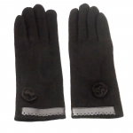 gants laine galon cuir fleur CHOCOLAT  GL35 1