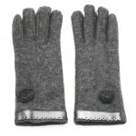 gants laine galon cuir fleur gris GL39 1