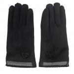 gants laine galon cuir fleur noir GL37 1