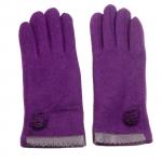 gants laine galon cuir fleur violine GL38 1