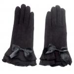 gants laine large volant noeud NOIR GL41 1