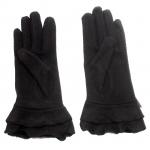 gants laine large volant noeud NOIR GL41 2