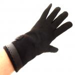 gants laine galon cuir fleur CHOCOLAT  GL35 3