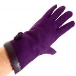 gants laine galon cuir fleur violine GL38 3