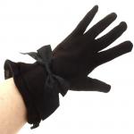 gants laine large volant noeud CHOCOLAT GL41 3