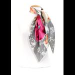 foulard en soie gris floralie premium CSGP-FAN 13 2